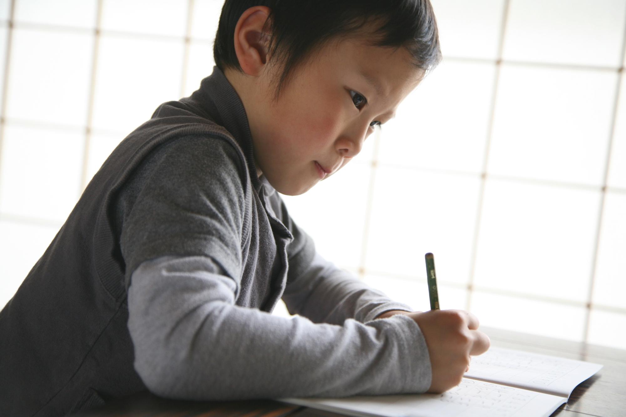 鉛筆で勉強する男の子